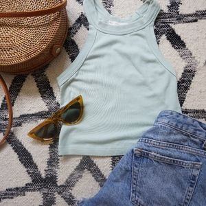 Mint Green Razor-back crop top
